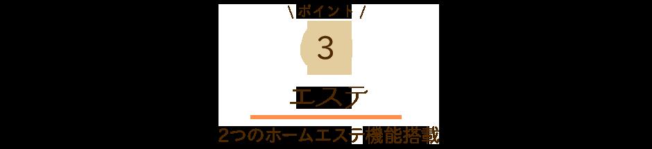 ポイント3 エステ 2つのホームエステ機能搭載